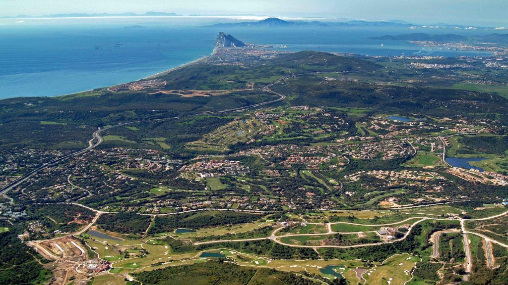 Drone view of Sotogrande, Gibraltar and Cadiz. Affordable development in Sotogrande