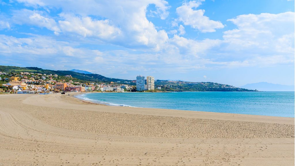 Sandy beach in Sotogrande marina, Costa del Sol, Spain