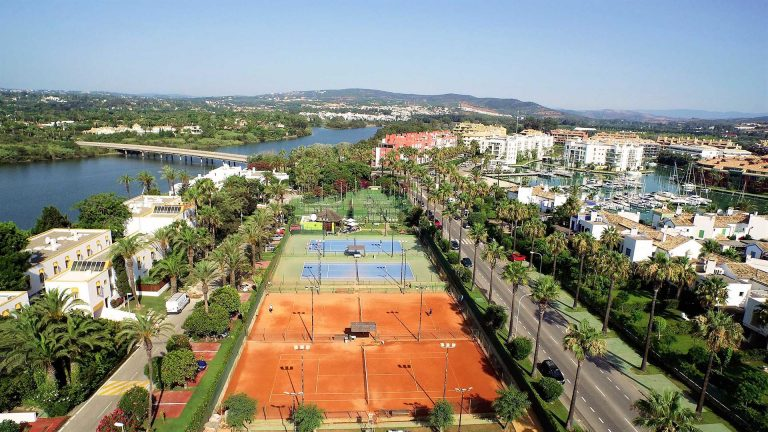 Drone View of El Octógono Paddle Tennis Club, located in Marina Sotogrande.