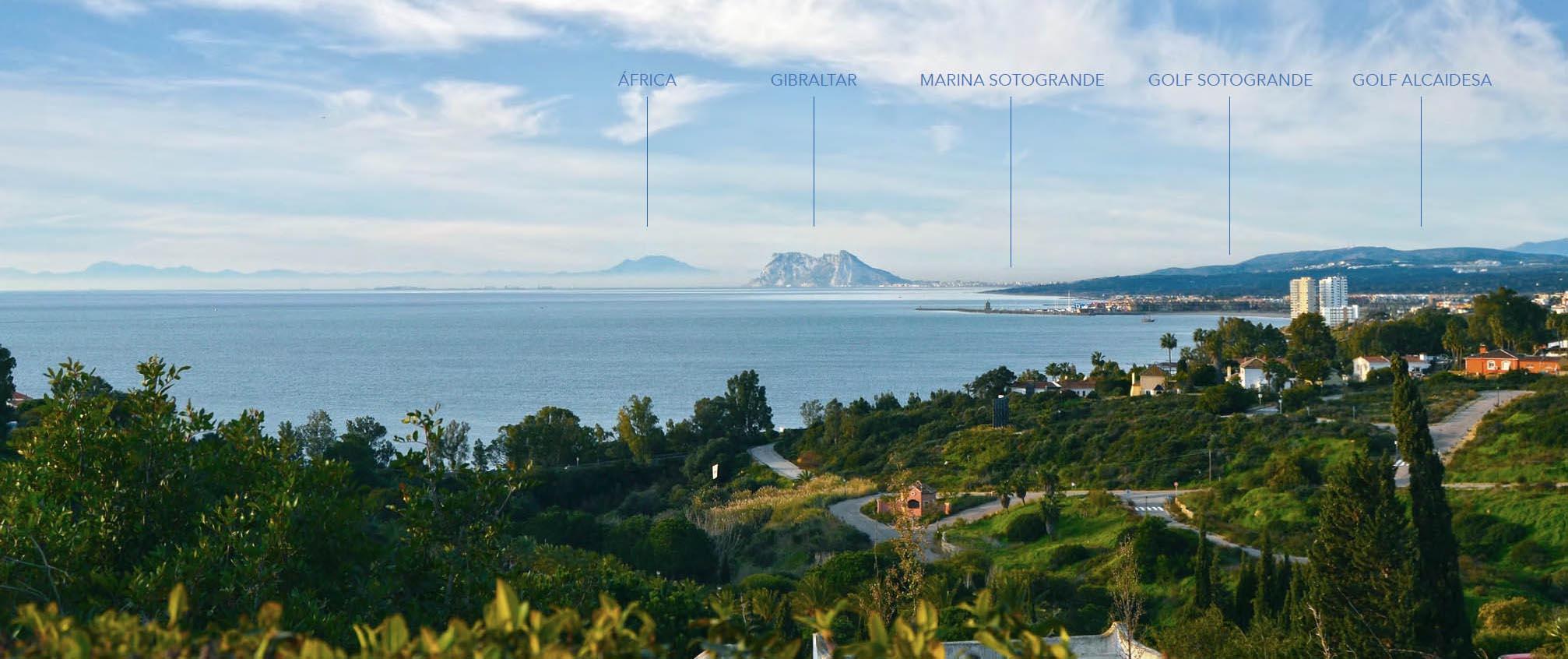 Views to Morocco, Gibraltar, Marina Sotogrande and the Mediterranean sea.